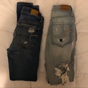 2 pair American Eagle distressed jeans size 4